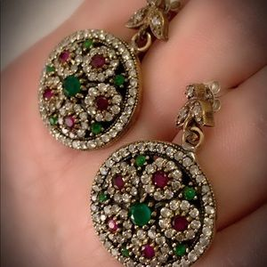 Flowering French Ruby Emerald Silver Earrings .925